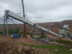 CV02 material handling conveyor being installed at the Hemerdon Tungsten Mine site in Devon.
