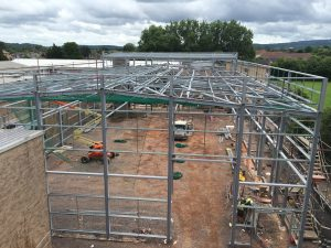 Erection of the sports hall in progress